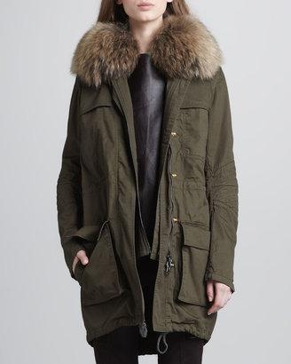 Vince Fur-Collar Coat