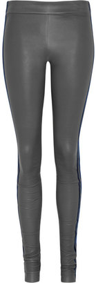 Les Chiffoniers Velvet-trimmed stretch-leather leggings