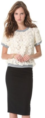 Peter Som Laser Cut Rosette Top