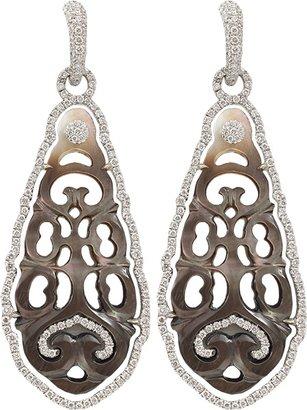 Mother of Pearl INBAR Carved Black Earrings