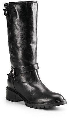 Fendi Leather & Rabbit Fur Knee-High Boots