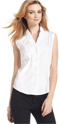 Kasper Top, Sleeveless Ruffle-Collar Shirt