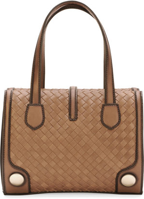 Bottega Veneta Double-Handle Woven Tote Bag, Brown/Black
