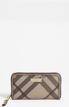 Burberry 'Smoked Check' Zip Around Wallet