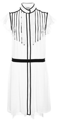 Prabal Gurung Pleat-Front Silk-Chiffon Dress Black / White
