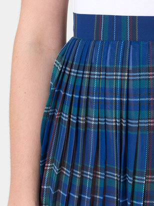American Apparel Plaid Chiffon Pleated Skirt