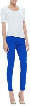7 For All Mankind Luxe Twill Skinny Ankle Pants, Cobalt