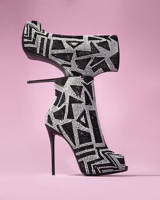 Giuseppe Zanotti Crystallized Peep-Toe Bootie, Black/White