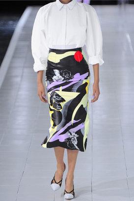 Prabal Gurung Printed cotton and silk-blend pencil skirt
