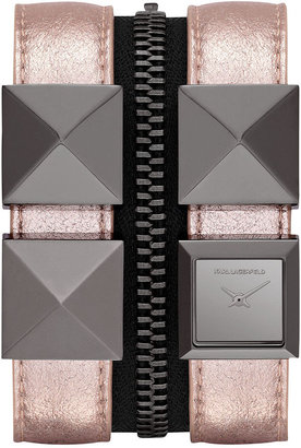 Karl Lagerfeld Women's Gunmetal-Tone Stainless Steel Stud and Metallic Pink Leather Double Strap Watch 18mm KL2011