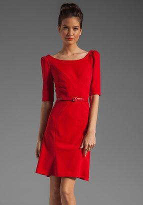 Zac Posen Z Spoke by 3/4 Sleeve V Neck Dress