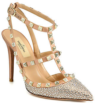 Valentino Crystal-Coated Satin T-Strap Pumps