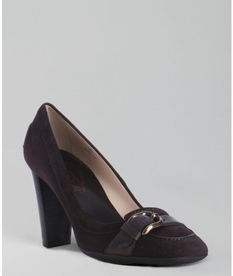 Tod's brown suede 'Jodie' moc pumps