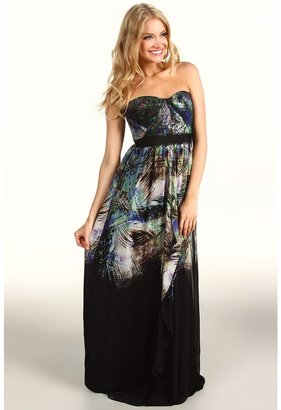 BCBGMAXAZRIA Tae Strapless Printed Gown (Black Multi Combo) - Apparel