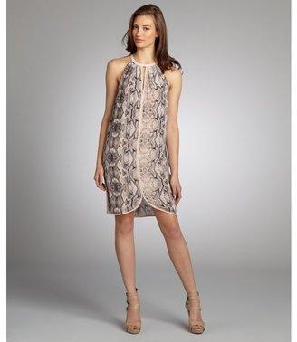 Rebecca Taylor buff python print stretch silk zip front trapeze dress