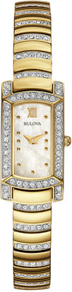 Bulova Women's Crystal Accent Gold-Tone Stainless Steel Bracelet Watch 18x15mm 98L204 $250 thestylecure.com