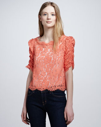 Joie Fanny Boat-Neck Lace Top