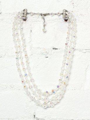 Free People Vintage Triple Tiered Crystal Bead Necklace