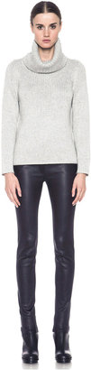 Helmut Lang Lux Blend Fitted Pullover Turtleneck in Light Heather Grey