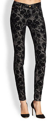 7 For All Mankind Velvet Floral Pattern-Flocked Skinny Jeans