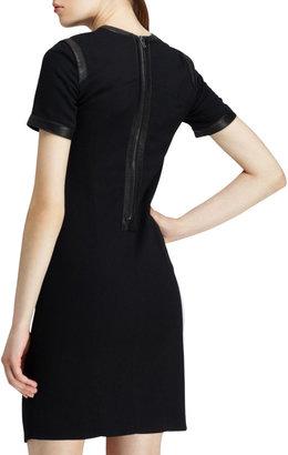 Helmut Lang Short-Sleeve Leather-Trim Suiting Dress