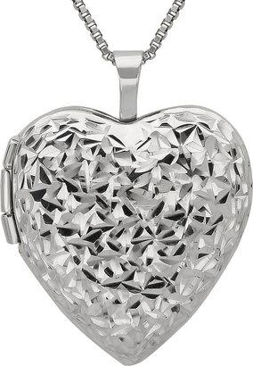 JCPenney FINE JEWELRY Diamond-Cut Heart Locket Pendant Sterling Silver Necklace