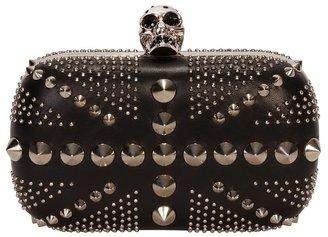 Alexander McQueen Black Studded Brittania Box Clutch