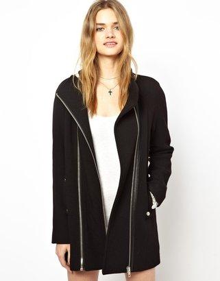 Vila Double Zip Coat - Black