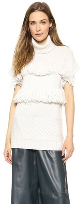 Derek Lam Fringed Turtleneck Sweater Vest
