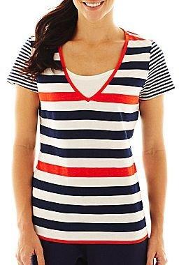 JCPenney Silverwear 2-in-1 Striped Tee