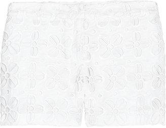 Milly Cotton eyelet-patterned shorts