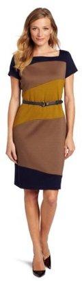 Jones New York Women's Ponte Color Block Wave Sheath Dress