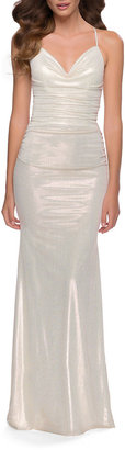 La Femme Ruched Metallic Jersey Cowl-Neck Gown