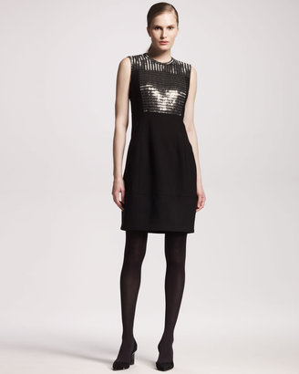 Reed Krakoff Chain Mail-Front Tropical Wool Dress