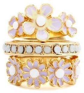 Charlotte Russe Pastel Blossom Stackable Ring Set