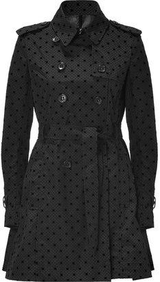RED Valentino Black Trench Coat with Velvet Polka Dots