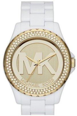 MICHAEL Michael Kors Michael Kors 'Madison' Crystal Bezel Logo Watch, 42mm White/ Gold