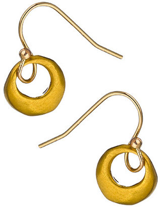 Philippa Roberts Jewelry Gold Circle Cut Out Drop Earrings