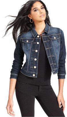 Earl Jeans Petite Jacket, Long-Sleeve Cropped Faded Denim