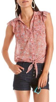 Charlotte Russe Crochet Back Tie-Front Top