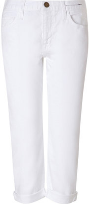 Current/Elliott White Cotton Sugar Boyfriend Jeans