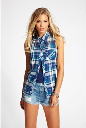 GUESS Embellished Rebel Twill Plaid Top in Blue