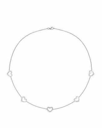 Kiki McDonough Eden 18k White Gold Diamond Heart-Station Necklace