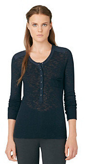Calvin Klein Jeans Military Henley Woven Piecing Top
