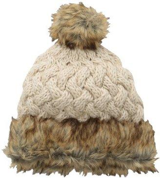 San Diego Hat Company San Diego Hat Women's Cable Knit Beanie with Faux Fur Pom Pom