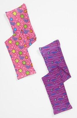 Skechers Twinkle Toes 'Leopard' Tights (2-Pack) (Little Girls) Pink/ Purple 4-7
