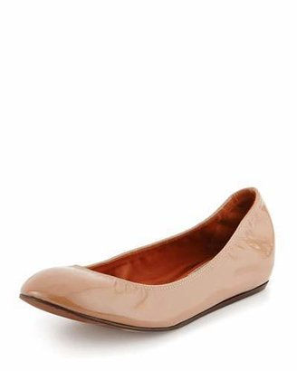 Lanvin Patent Leather Ballerina Flat, Nude $495 thestylecure.com