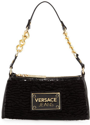 Versace Chain-Strap Logo-Plate Shoulder Bag, Black