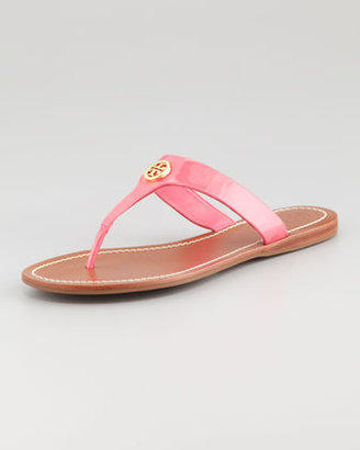 Tory Burch Cameron Patent Logo Thong Sandal, Bougainvillea Pink