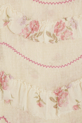 RED Valentino Chiffon-trimmed woven cotton top